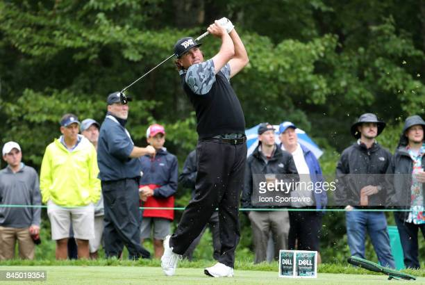 Pat Perez of the United States hits from the 8th tee during the third round of the Dell Technologies Championship on September 3 at TPC Boston in...