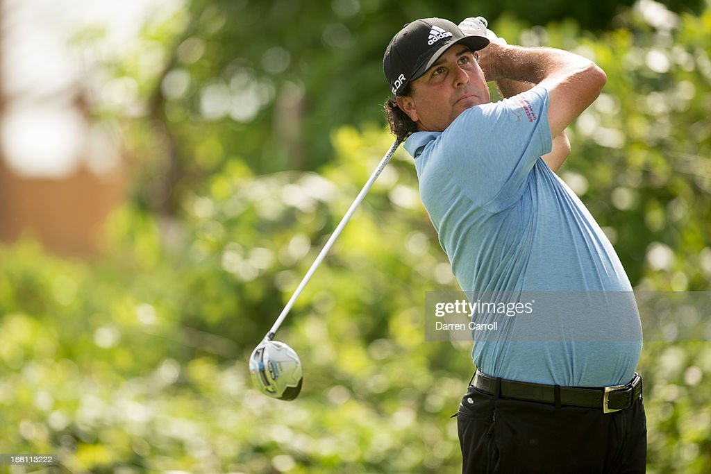 Pat Perez of the United States plays a tee shot at the 18th hole during continuation of the first round of the 2013 OHL Classic at Mayakoba, played at El Camaleon Golf Club on November 15, 2013 in Playa Del Carmen, Mexico.