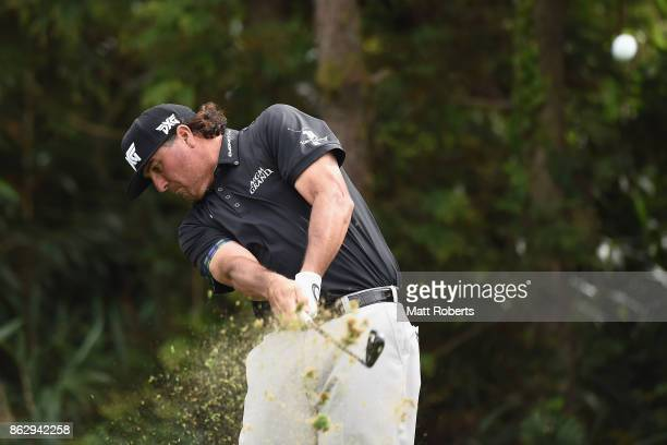 Pat Perez of the USA hits his tee shot on the 7th hole during the first round of the CJ Cup at Nine Bridges on October 19 2017 in Jeju South Korea