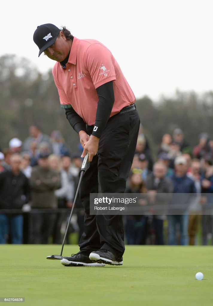 Pat Perez putts on the 18th hole during a continuation of the second round at the Genesis Open at Riviera Country Club on February 18, 2017 in Pacific Palisades, California.