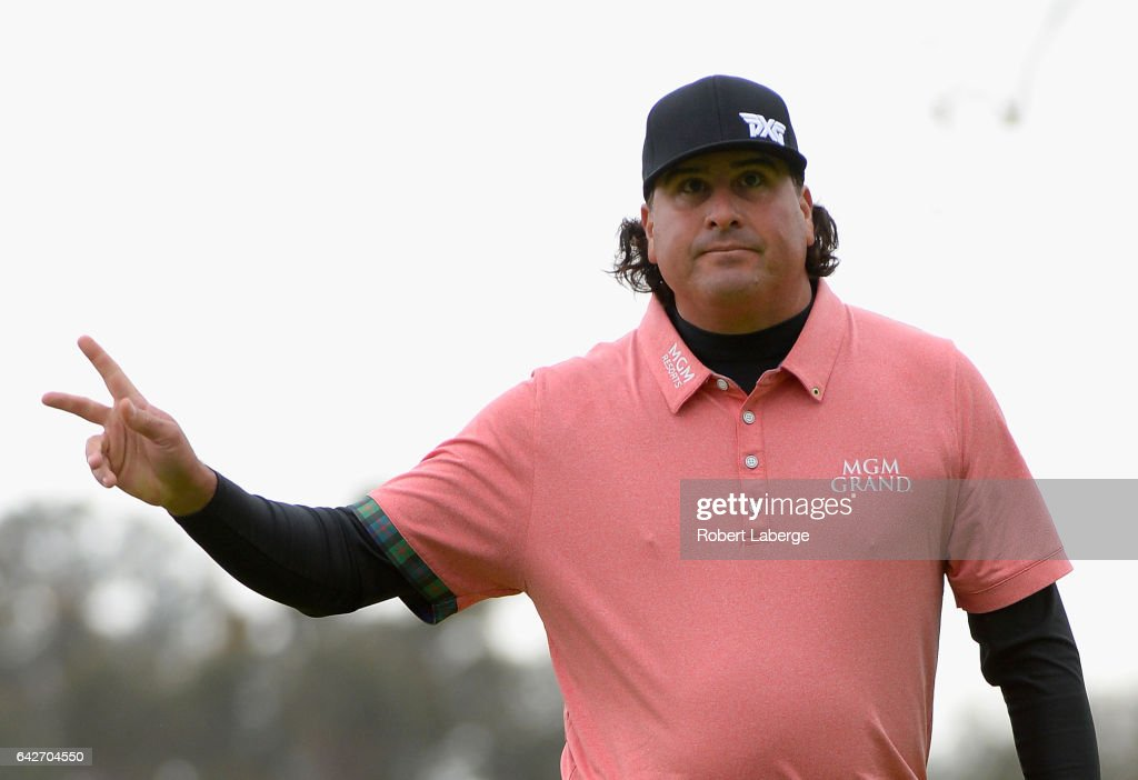 Pat Perez reacts to his birdie on the 18th hole during a continuation of the second round at the Genesis Open at Riviera Country Club on February 18, 2017 in Pacific Palisades, California.