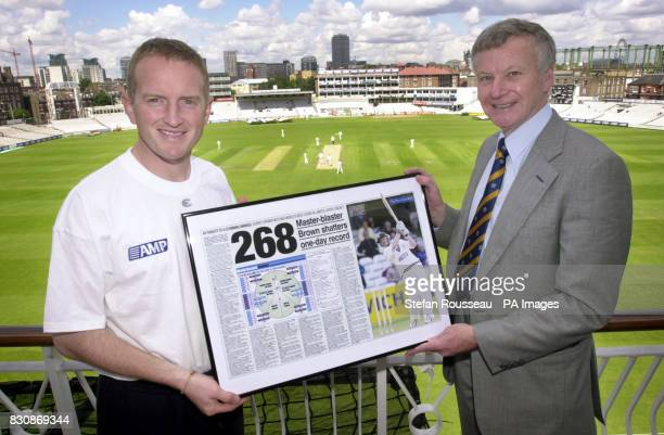 Pat Pilton of The Press Association presented Surrey opener Alistair Brown with a framed picture to commemmorate his world record breaking 268 runs v...
