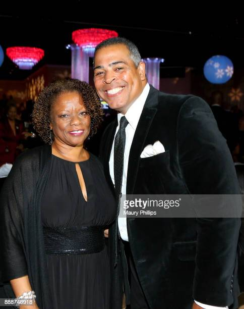 Pat Prescott and Chris Schauble attend the 49th Annual Pioneer of African American Achievement Award dinner at The Beverly Hilton Hotel on December 8...