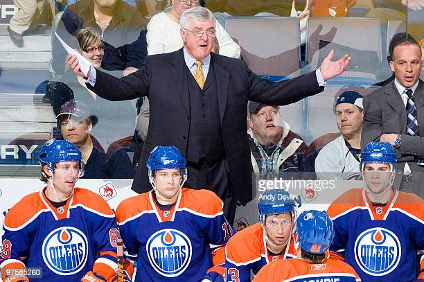 Pat Quinn waits for an explanation from a referee as his Edmonton Oilers play the New Jersey Devils at Rexall Place on March 7 2010 in Edmonton...
