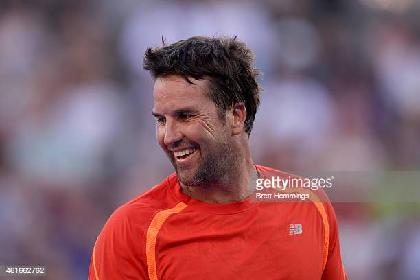 Pat Rafter looks on during the Legends Exhibition Fast4 match against John McEnroe during day seven of the 2015 Sydney International at Sydney...