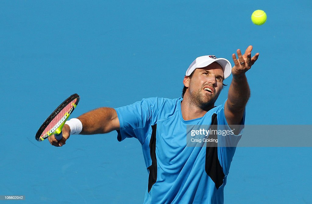 Pat Rafter of Australia serves during his match against Goran Ivanisevic of Croatia on day three of the Sydney Champions Downunder at Sydney Olympic Park Tennis Centre on November 13, 2010 in Sydney, Australia.