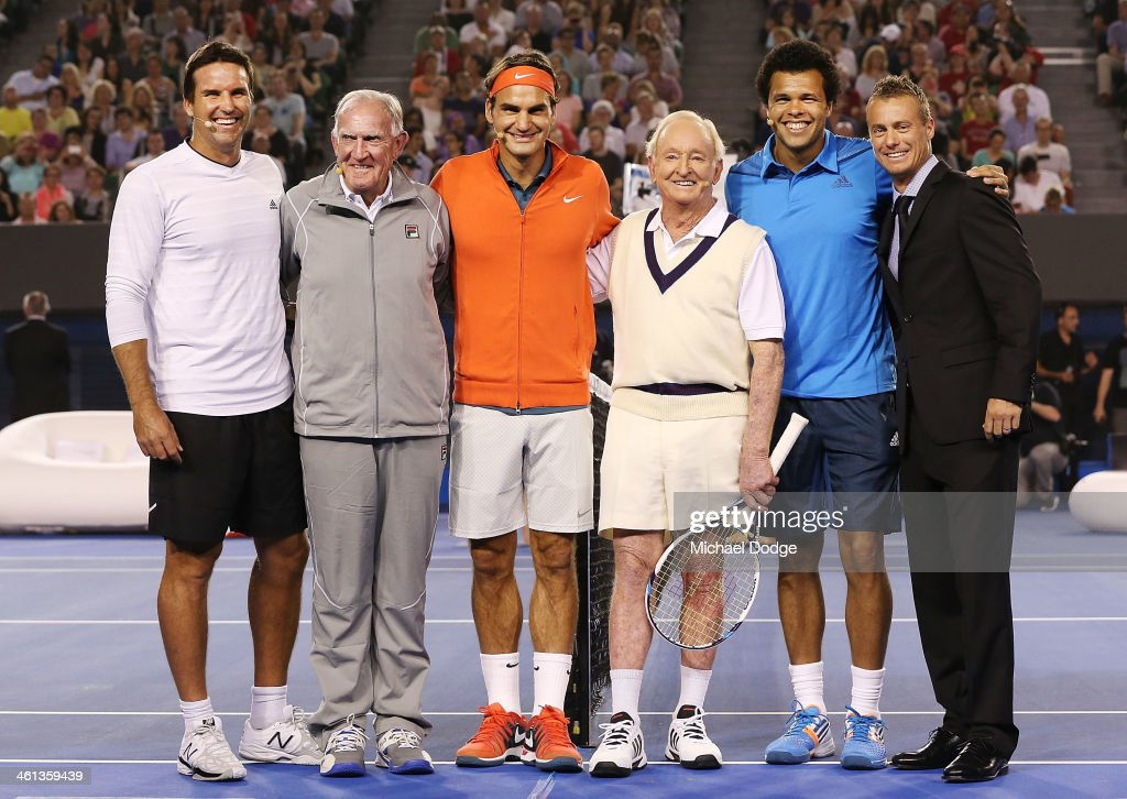 Pat Rafter, Tony Roche, <a gi-track='captionPersonalityLinkClicked' href=/galleries/search?phrase=Roger+Federer&family=editorial&specificpeople=157480 ng-click='$event.stopPropagation()'>Roger Federer</a>, <a gi-track='captionPersonalityLinkClicked' href=/galleries/search?phrase=Rod+Laver&family=editorial&specificpeople=209079 ng-click='$event.stopPropagation()'>Rod Laver</a>, Jo Wilfried Tsonga and <a gi-track='captionPersonalityLinkClicked' href=/galleries/search?phrase=Lleyton+Hewitt&family=editorial&specificpeople=167178 ng-click='$event.stopPropagation()'>Lleyton Hewitt</a> pose during the <a gi-track='captionPersonalityLinkClicked' href=/galleries/search?phrase=Roger+Federer&family=editorial&specificpeople=157480 ng-click='$event.stopPropagation()'>Roger Federer</a> Charity Match at Melbourne Park on January 8, 2014 in Melbourne, Australia.