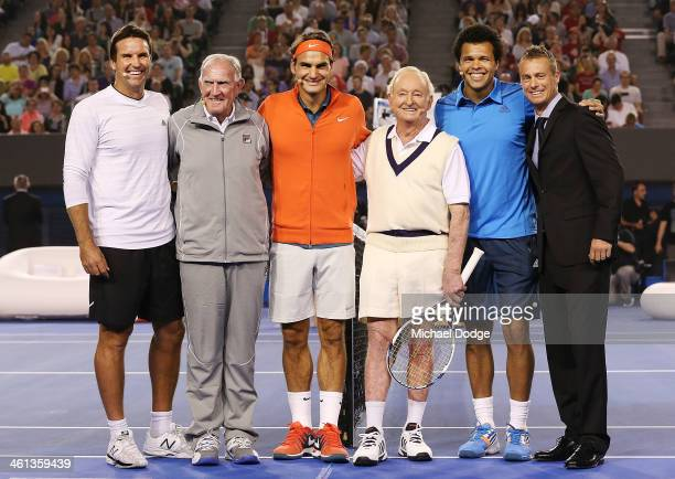 Pat Rafter Tony Roche Roger Federer Rod Laver Jo Wilfried Tsonga and Lleyton Hewitt pose during the Roger Federer Charity Match at Melbourne Park on...