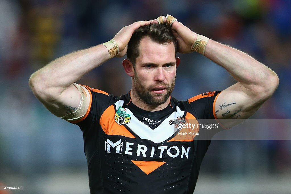 Pat Richards of the Wests Tigers looks dejected after defeat during the round 17 NRL match between the Wests Tigers and the Parramatta Eels at ANZ Stadium on July 6, 2015 in Sydney, Australia.