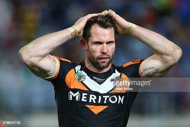 Pat Richards of the Wests Tigers looks dejected after defeat during the round 17 NRL match between the Wests Tigers and the Parramatta Eels at ANZ...