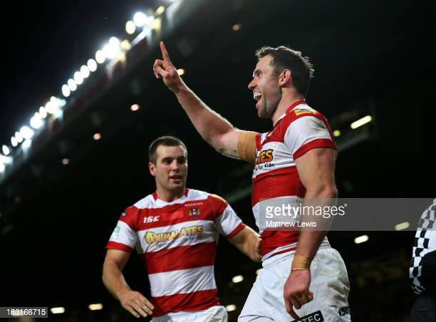 Pat Richards of Wigan celebrates after scoring his team's fifth try during the Super League Grand Final between Warrington Wolves and Wigan Warriors...
