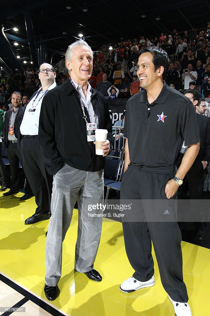 Pat Riley and Erik Spoelstra of the Miami Heat share a laugh during the NBA All-Star Practice in Sprint Arena at Jam Session at Jam Session during NBA All Star Weekend on February 16, 2013 at the George R. Brown in Houston, Texas.