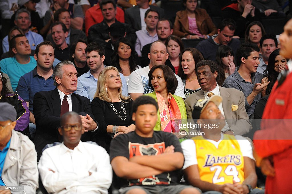 Pat Riley and his wife Chris, and Elgin Baylor and his wife Elaine attend a game between the Houston Rockets and the Los Angeles Lakers at Staples Center on April 6, 2012 in Los Angeles, California.