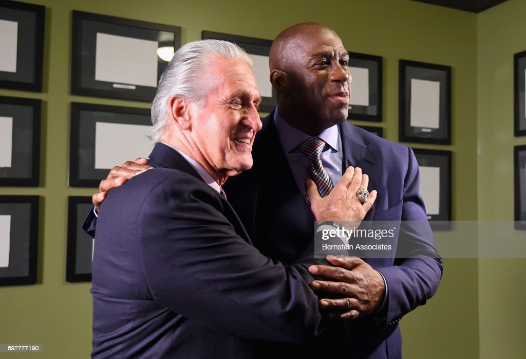 Pat Riley (L) and Magic Johnson attend the American Express Teamed Up with Magic Johnson and Pat Riley on June 5, 2017 at the Conga Room in Los Angeles, California.