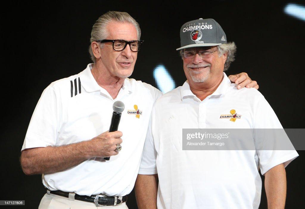 Pat Riley and Mickey Arison participate in the Miami Heat 2012 NBA Championship Celebration at AmericanAirlines Arena on June 25, 2012 in Miami, Florida.