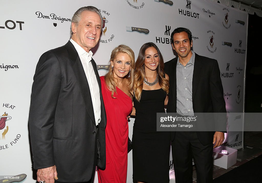 Pat Riley, Chris Riley, Nikki Sapp and Erik Spoelstra attend the Miami HEAT Family Foundation night of 'Motown Revue' on February 27, 2013 in Miami, Florida.