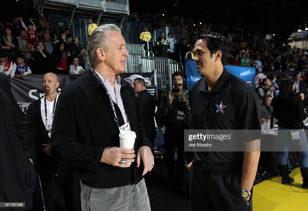 Pat Riley general manager of the Miami Heat talks with Erik Spoelstra head coach of the Miami Heat during the NBA All-Star Practice in Sprint Arena during the 2013 NBA All-Star Weekend on February 16, 2013 at the George R. Brown Convention Center in Houston, Texas.