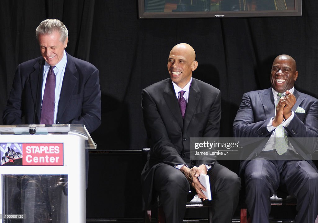 Pat Riley, Kareem Abdul-Jabbar and Earvin 'Magic' Johnson attends the Kareem Abdul-Jabbar Statue Unveiling held at the Staples Center on November 16, 2012 in Los Angeles, California.