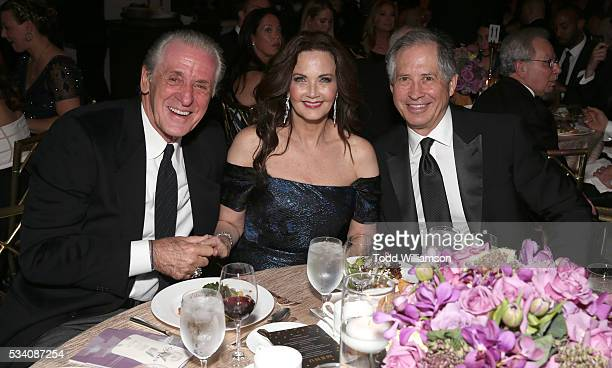 Pat Riley Lynda Carter and Robert A Altman attend the 41st Annual Gracie Awards at Regent Beverly Wilshire Hotel on May 24 2016 in Beverly Hills...
