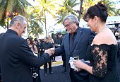 Pat Riley Micky Arison and Madeleine Arison attends Miami Heat Black Tie On Ocean Drive Gala at Betsy Hotel Rooftop on March 14 2015 in Miami Beach...