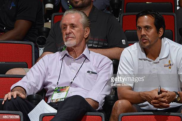 Pat Riley of the Miami Heat attends a game against the Denver Nuggets on July 13 2015 at The Cox Pavilion in Las Vegas Nevada NOTE TO USER User...