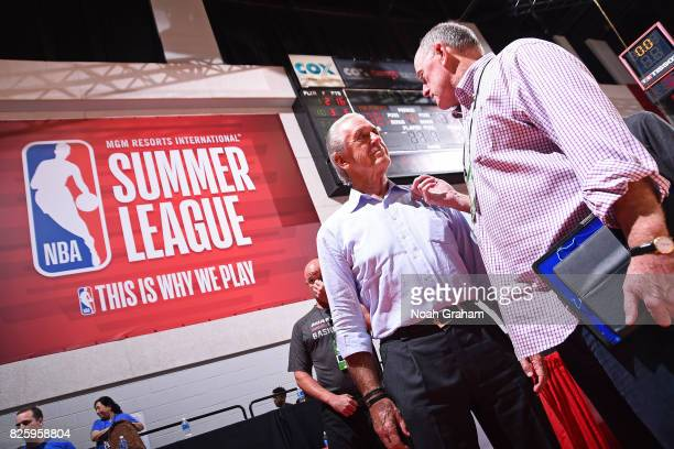 Pat Riley of the Miami Heat attends during the 2017 Las Vegas Summer League game against the Dallas Mavericks on July 11 2017 at Cox Pavillion in Las...