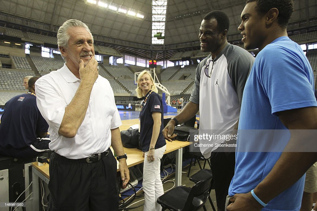 <a gi-track='captionPersonalityLinkClicked' href=/galleries/search?phrase=Pat+Riley&family=editorial&specificpeople=209246 ng-click='$event.stopPropagation()'>Pat Riley</a> president of the Miami Heat and David Robinson NBA Legend are talking during the practice of the US Men's Senior National team at Palau Sant Jordi II arena in Barcelona, Spain on July 21, 2012.