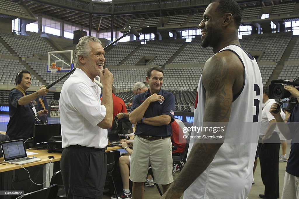 <a gi-track='captionPersonalityLinkClicked' href=/galleries/search?phrase=Pat+Riley&family=editorial&specificpeople=209246 ng-click='$event.stopPropagation()'>Pat Riley</a> president of the Miami Heat, <a gi-track='captionPersonalityLinkClicked' href=/galleries/search?phrase=LeBron+James&family=editorial&specificpeople=201474 ng-click='$event.stopPropagation()'>LeBron James</a> # 6 and <a gi-track='captionPersonalityLinkClicked' href=/galleries/search?phrase=Mike+Krzyzewski&family=editorial&specificpeople=213322 ng-click='$event.stopPropagation()'>Mike Krzyzewski</a> Head Coach of the US Men's Senior National team are talking after practice at Palau Sant Jordi II arena in Barcelona, Spain on July 21, 2012.