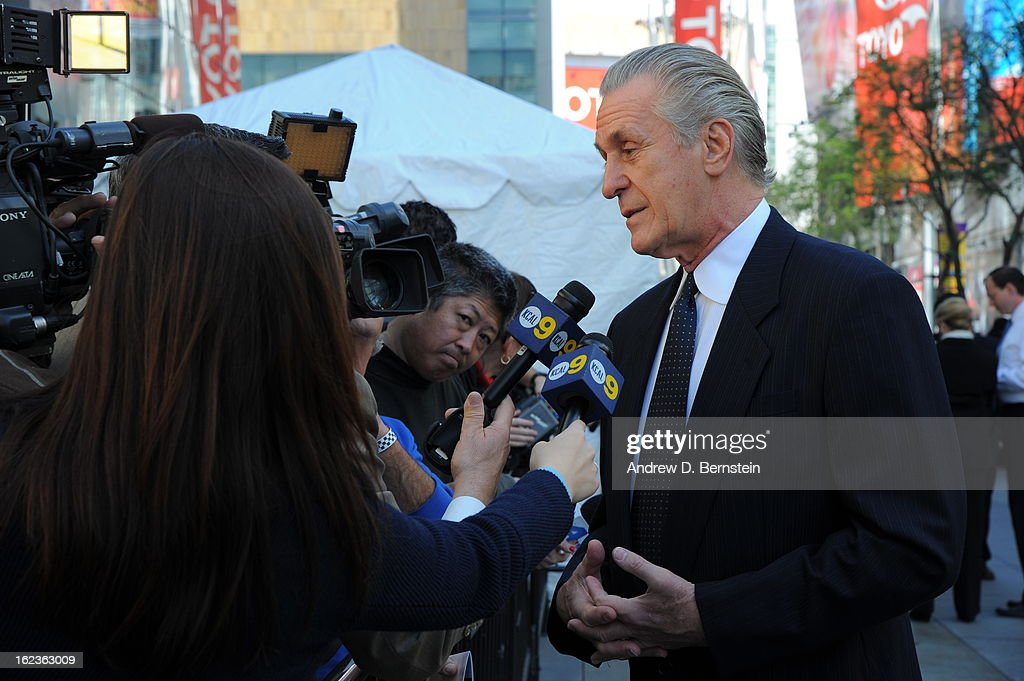 <a gi-track='captionPersonalityLinkClicked' href=/galleries/search?phrase=Pat+Riley&family=editorial&specificpeople=209246 ng-click='$event.stopPropagation()'>Pat Riley</a> speaks with the media before the memorial service for Los Angeles Lakers Owner Dr. Jerry Buss at Nokia Theatre LA LIVE on February 21, 2013 in Los Angeles, California.