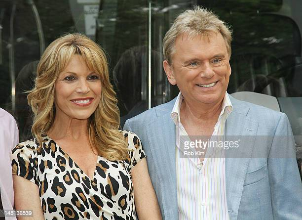 Pat Sajak and Vanna White of 'Wheel Of Fortune' are honored by Gray Line New York's Ride Of Fame Campaign in Central Park on May 23 2012 in New York...