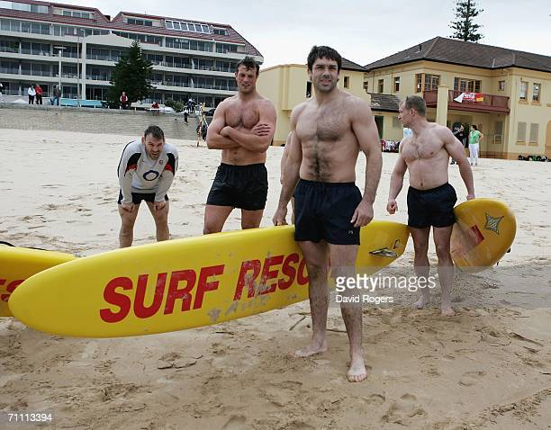 Pat Sanderson the England captain takes part in a team Iron Man challenge on Manly Beach on June 3 2006 in Manly Australia