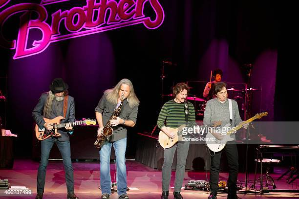 Pat Simmons Marc Russo Tom Johnson and John Mcfee of the Doobie Brothers performs at The Concert Venue Harrah's on January 31 2014 in Atlantic City...