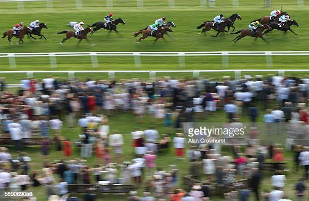 Pat Smullen riding Partitia win The Betfred 'Supports Jack Berry House' EBF Stallions Maiden Fillies' Stakes at Newbury Racecourse on August 13 2016...