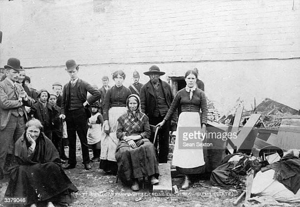 Pat Spellecy and family Irish tenants evicted by landlords from their smallholding for the nonpayment of rent on the estate of Captain Hector...