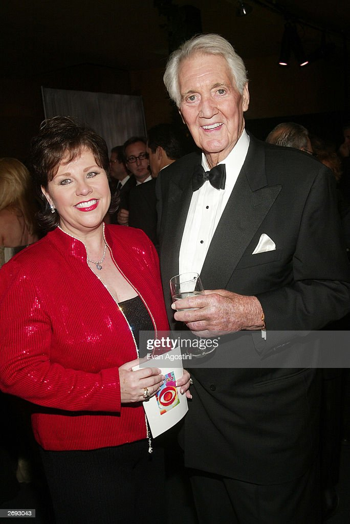 Pat Summerall and wife attend the cocktail party for the 'CBS at 75' television gala at the Hammerstein Ballroom November 2, 2003 in New York City.