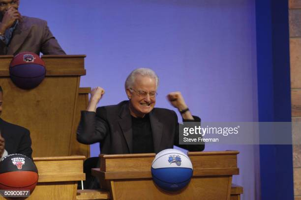Pat Williams representative of the Orlando Magic celebrates after winning the 1st overall pick in the 2004 NBA draft lottery on May 26 2004 in...