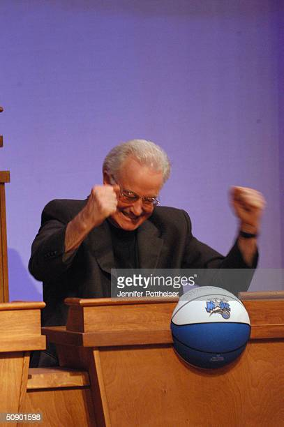Pat Williams representative of the Orlando Magic celebrates after winning the 1st overall pick at the 2004 NBA draft lottery on May 26 2004 in...