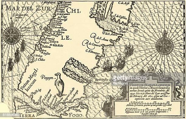 Patagonia Argentina from Oliveirs du Noort's Description du penible Voyage