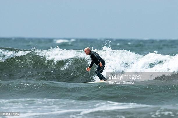 Patagonia Founder Yvon Chouinard surfs at Yuigahama beach on May 18 2007 in Kamakura Kanagawa Japan