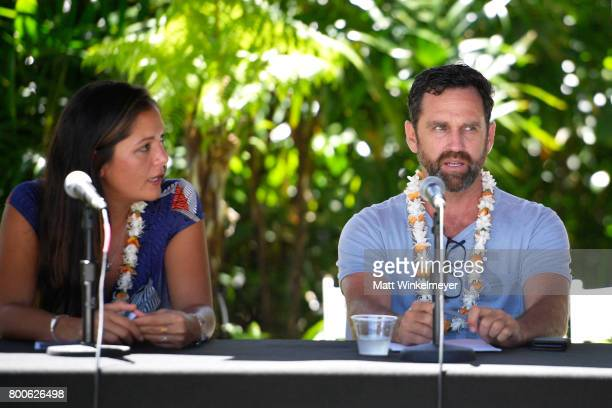 Patagonia Surf Ambassador Kimi Werner and director Taylor Steele speak during the 'Filmmakers Panel' on day four of the 2017 Maui Film Festival at...