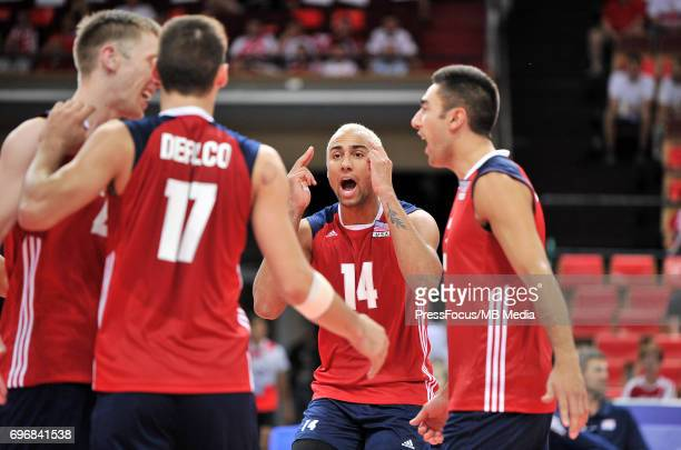 Patch Benjamin Defalco Torey Sander Taylor reacts during the FIVB World League 2017 match between Iran and USA at Arena Spodek on June 15 2017 in...