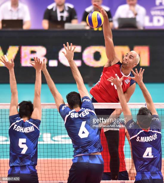 Patch Benjamin during the FIVB World League 2017 match between Iran and USA at Arena Spodek on June 15 2017 in Katowice Poland