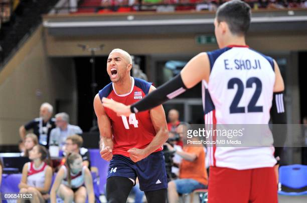 Patch Benjamin reacts during the FIVB World League 2017 match between Iran and USA at Arena Spodek on June 15 2017 in Katowice Poland