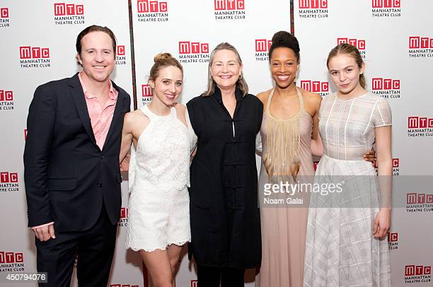 Patch Darragh Zoe Kazan Cherry Jones Cherise Boothe and Morgan Saylor attend the 'When We Were Young And Afraid' Opening Night at Brasserie 8 1/2 on...