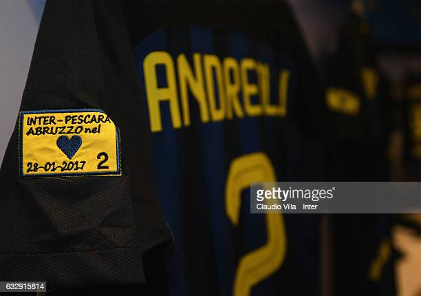 A patch to remember for the earthquake's in memory of the Abruzzo victims of the FC Internazionale dressing room prior to the Serie A match between...