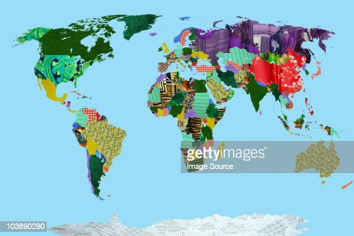 Patchwork world map