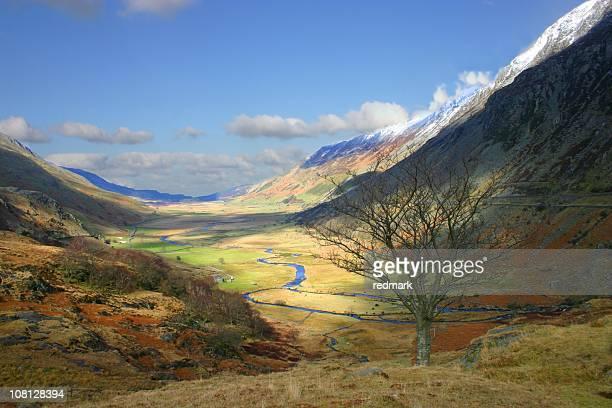 Patchy sunshine through Snowdonia landscape