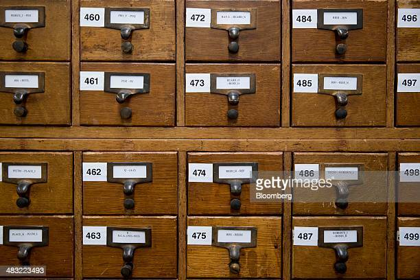 A patent inventor index cabinet sits inside the public search facility at the US Patent and Trademark Office headquarters in Alexandria Virginia US...