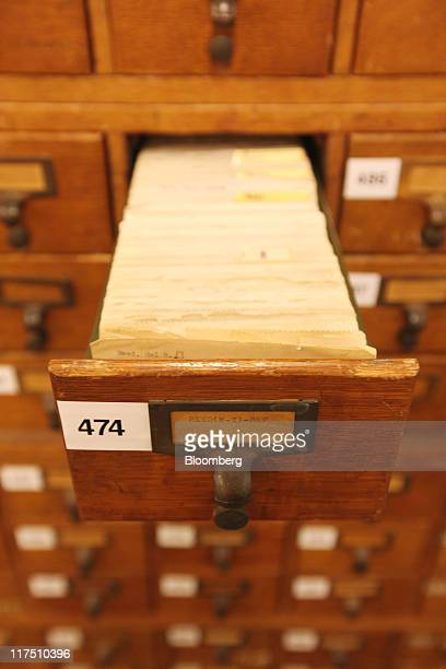 Patent inventor index files are seen at the public search facility of the US Patent and Trademark Office in Alexandria Virginia US on Friday June 17...