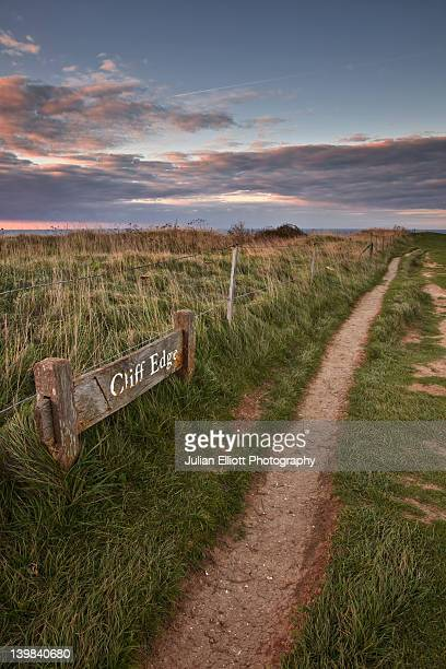 Path along the South Downs, near Beachy Head, East Sussex, England, UK.